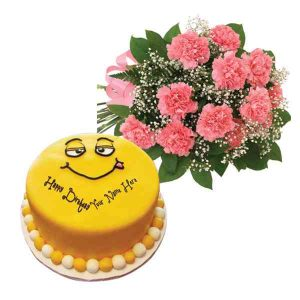 Carnations-With-Smiley-Cake