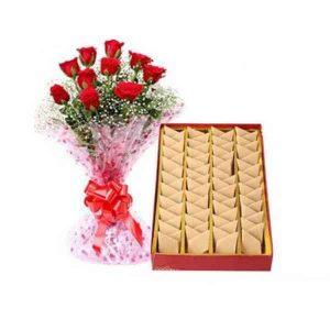 Kaju-Burfi-With-Red-Roses