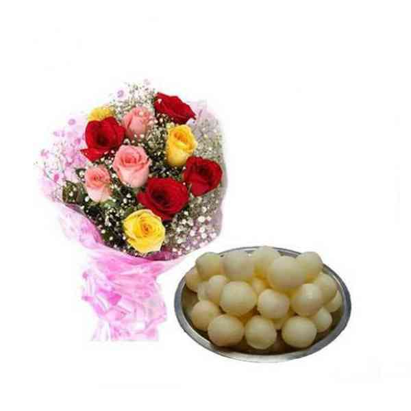 Mixed-Roses-With-Rasgulla
