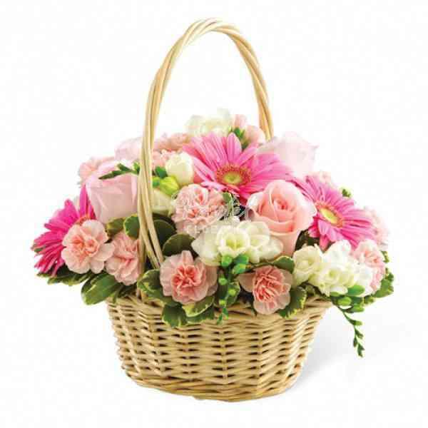 Pink-Flowers-Basket