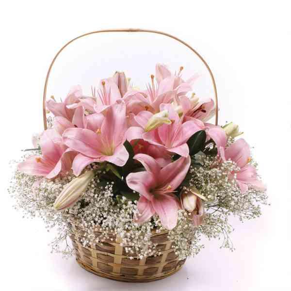 Pink-Lilies-basket