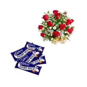Roses With Dairy Milk Silk