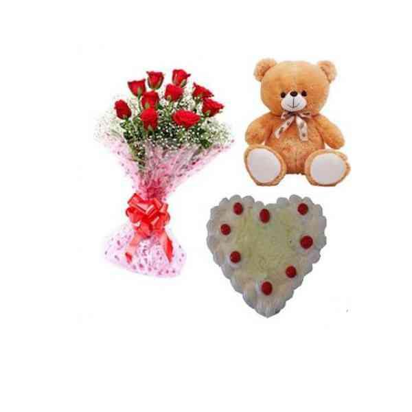 Roses,TeddyWithHeartShapeWh