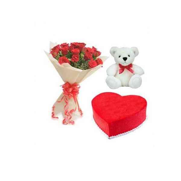 Roses,TeddyWithRedVelvetCak