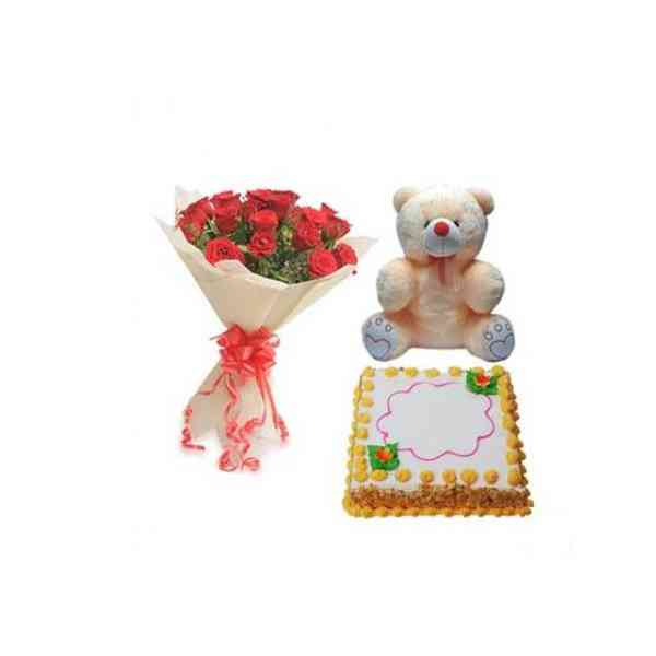 Roses,TeddyWithSquareButter