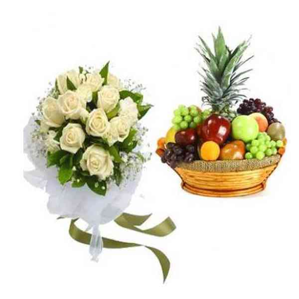 White-Roses-With-Fruit-Bask