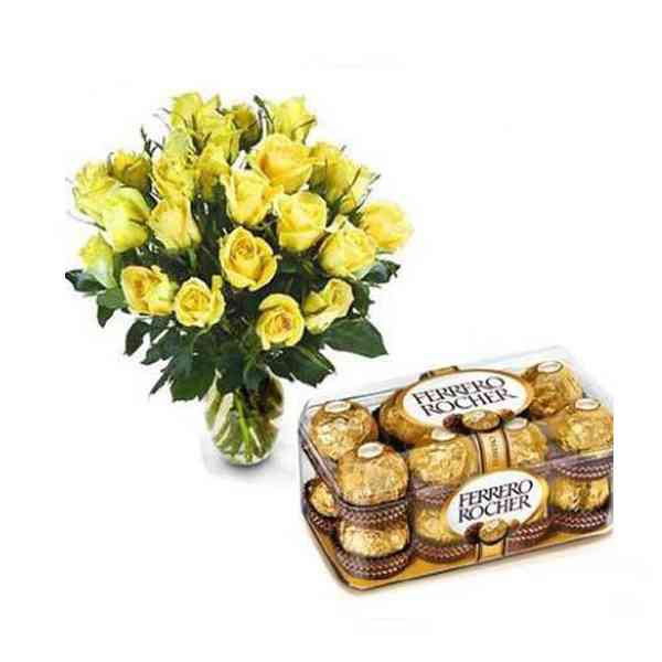 Yellow-Roses-Vase-With-Ferr