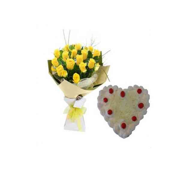YellowRosesWithHeartShapeWh